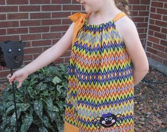 Halloween Pillowcase Dress, Girly Spider Dress, Purple, Orange, Yellow, Green and Black Chevron, Fall Dress, Size 2T to 14