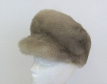 1960s Fur Hat Mod Hat Mod Fur Hat 60s Scooter Hat Peak Hat Go Go Hat Light Brown Fur Hat Cap with Brim Fur Newsboy Hat Peaked Mod Fur Hat