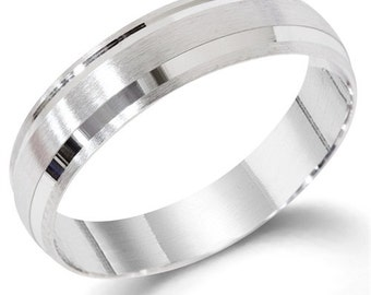 Mens 14K White Gold Hand Brushed Comfort Fit Wedding Band