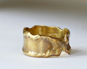 Melted Brass Ring Smooth Molten Brass