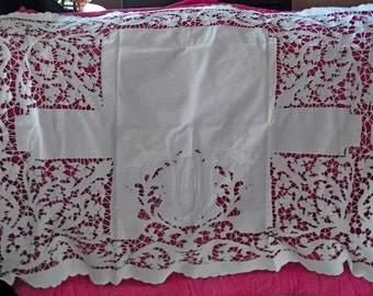 SALE Ooak Antique Victorian French Hand Cut and Embroidered Linen Richelieu Pillow Layover 1800s Initials MD or MO