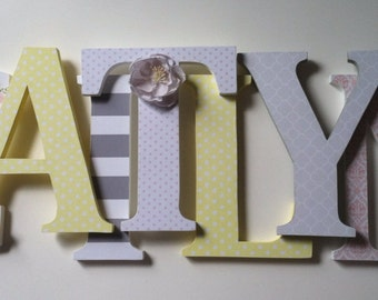 Wooden letters for nursery child's name letters stand up initial monogram