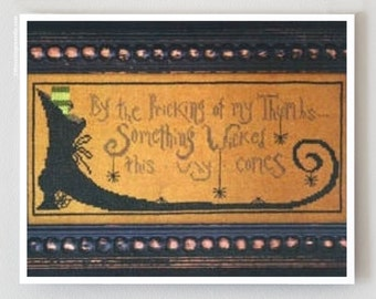 Something Wicked Halloween cross stitch pattern by La D Da at cottageneedle.com Halloween Beggar's Night witch boot