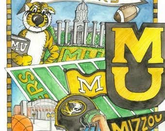Missouri Tigers Campus Print for the Ultimate Tiger Fan!