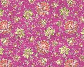 Amy Butler Fabric - Soul Blossoms -  Sari Blooms - Raspberry 1 Yard