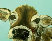 Baby cow Art, Canvas Reproduction Soft aqua perfect decorating size
