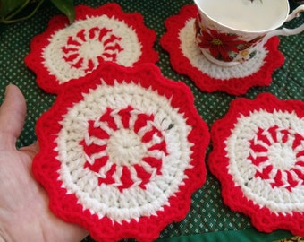 Hand Crochet Red and White Coasters - Set of 4