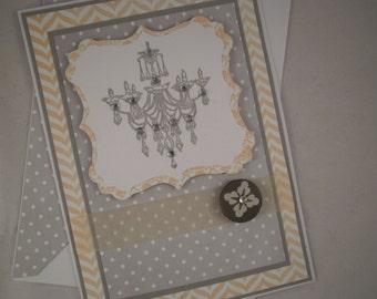 Handmade Anniversary Card, Happy Anniversary Card, Chandelier Anniversary Card, Chandelier Card