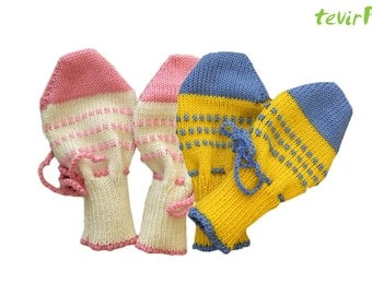 Mittens - 0 - 9 months - 100% merino wool knit new baby newborn No Scratch Mitts without finger