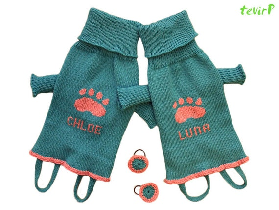 Sweater for dog - all sizes - PERSONALIZED name 100% MERINO wool knit knitted handmade doggy pet