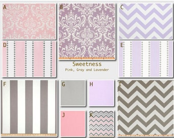 Custom Modern Baby Crib Bedding -Design Your Own-  Sweetness in Purple, Pink and Gray