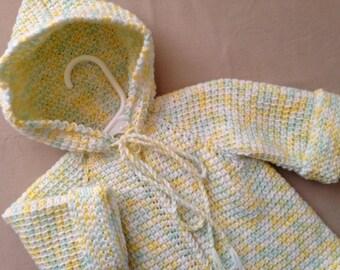 Yellow White Green Crochet Baby Girl Sweater with Hood - 0-3 Months - Tunisian Crochet - Handmade