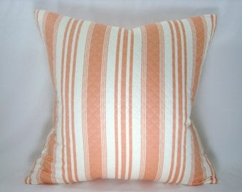 Robert Allen Pillow Matelasse Orange Stripe Pillow Decorative Pillow Bed Pillow Accent Pillow Toss Pillow 18x18