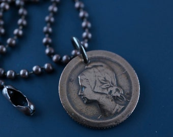 coin jewelry .vintage 1927 PORTUGAL COIN NECKLACE  portuguese coin. centavis. cabo verde. antique coin pendant No.001084