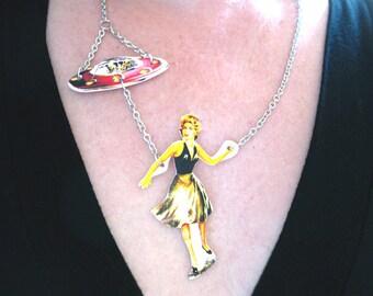 UFO Statement Necklace Jewelry Geekery Sci Fi uGIrl Pulp Kitsch Gift Nerd for Her Gift
