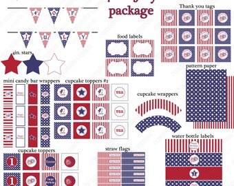 SALE Sale  DIY Happy Birthday 4th fourth of july  PRINTABLE Party Package banner cupcake toppers labels paper