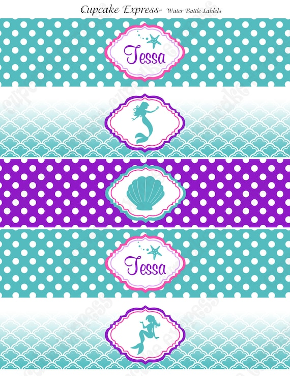 DIY  Ariel Inspired  little mermaid Birthday Party  PRINTABLE Water Bottle Labels  purple teal under the sea
