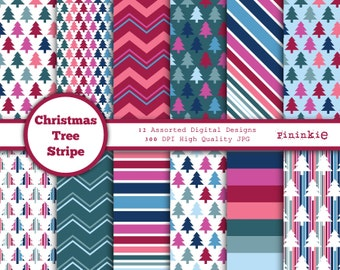 Modern Christmas Digital Paper - Christmas Trees - Christmas Digital Download - Christmas Scrapbook Paper, Instant Download, Co