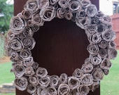 OOAK Outlander Book Page Wreath, Rosettes, Handmade from Upcycled Materials