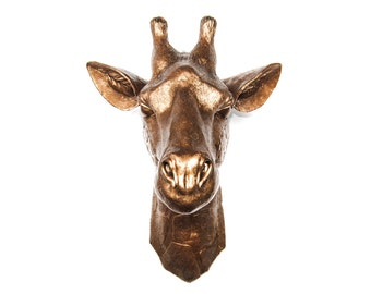 Faux Taxidermy Resin Bronze Giraffe Head Wall Decor - Bronze Faux Giraffe - Fake Safari Taxidermy Wall Mount - Resin Safari Home Decor G09