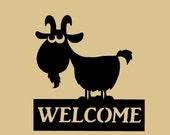 Goat Welcome sign, silhouette, farmyard, Metal Art