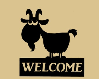 Goat Welcome sign, silhouette, farmyard, Metal Art