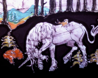 Unicorn in Woods with Fox and Bird - batik print from original