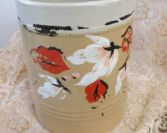 Heavy Tan Stoneware Crock Chippy Hand Painted