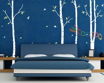 """Wall Decal, wall Stickers ,Tree Wall Decals ,Wall decals, Nursery wall decal, Removable, 96""""H, 2 colors, Birch 4 trees DC0202"""