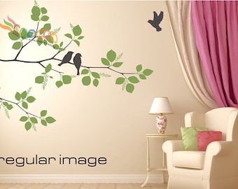 "Wall Decal, wall Stickers ,Tree Wall Decals ,Wall decals, Nursery wall decal, Removable: DC012670. Two colors Branches and birds 70""H"