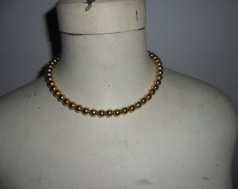 Authentic Vintage SIGNED MONET Gold Bead Necklace