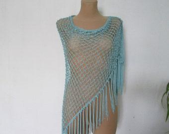 Triangular Scarf / Scarf Vintage / Fringed Shawl / Fringed Scarf / Turquoise Scarf / Turquoise Shawl / Wrap / Lace / Fringe