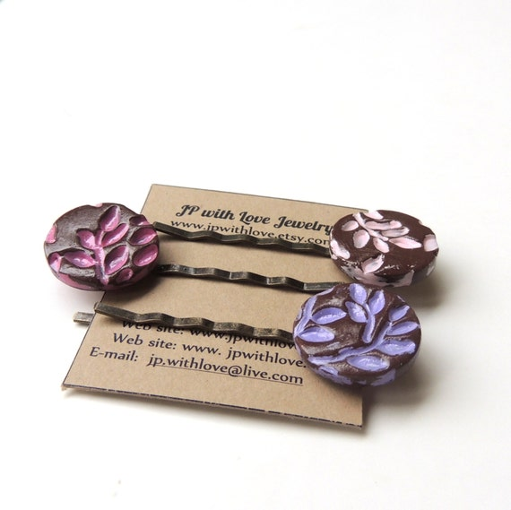 Hair pins, Purple hairpins, pink hair pins