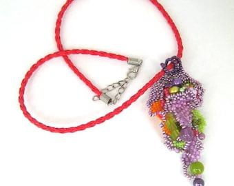 Boho necklace, Colorful pendant, Seed bead necklace, Freeform peyote necklace, Purple beadwork necklace