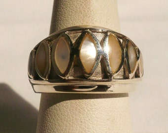 Sterling Silver Mother Of Pearl Ring-Size 7