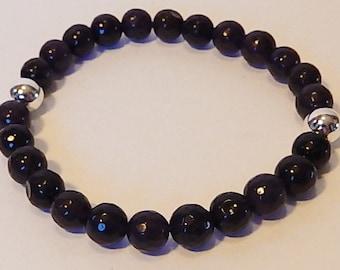 Purple Jade beaded bracelet with Sterling Silver beads, Stretch bracelet, Gemstone jewelry, Natural stone