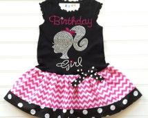 Custom Boutique Silhouette Dress Rhinestone Dress Birthday Girl Dress Girls Hot Pink Chevron dress Kids Available  6/9 months through 6/8