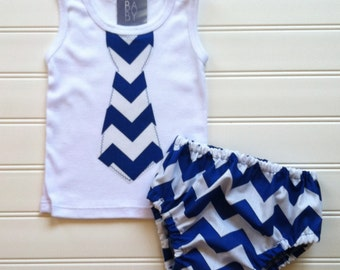 Baby Boys Diaper Cover Set Chevron Diaper Cover Outfit Boys Outfit Boys Tie Set Boys Clothing Baby Toddlers Size 0-3 3-6 6-9 12 18 24 Month