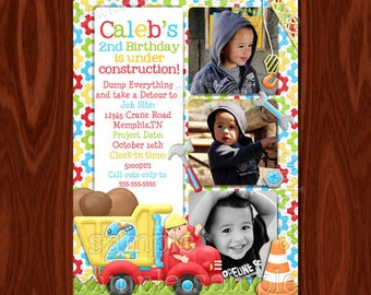 Construction themed birthday invitation and Thank you card