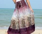 A Line Skirt Maxi Skirt Floral Long Skirt Party Women Skirt Gifts Idea Skirt Ladies Skirt Chiffon Summer Wear
