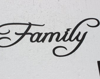 """Family Word Large Metal Wall Art 30"""" Wide by 12"""" Tall"""