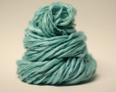 Handspun Thick and Thin Yarn Hand Dyed Tencel Merino Superwash Slub tts (tm) Seafoam