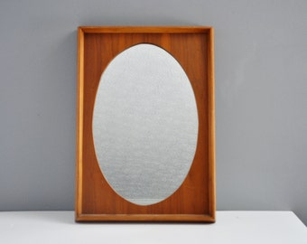 Vintage Wooden Wall Mirror - Oval Cutout Hanging Mirror