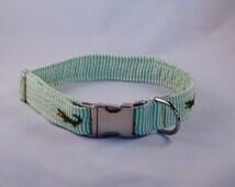 Preppy Green Alligator Seersucker Dog Collar, Preppy Critter Dog Collar, Striped Dog Collar, Green Dog Collar, Gator Dog Collar