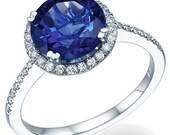 Blue Sapphire Engagement Ring 14k White Gold with Diamonds September Birthstone