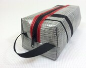 Sailcloth Toiletry Bag / Dopp Kit - grey, black and red