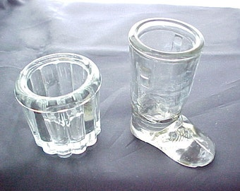 Vintage Crystal Glass Toothpick Holders (2), Collectible Kitchen Glassware, Clear Vanity Q Tip Holder or Desk Paper Clip Holder