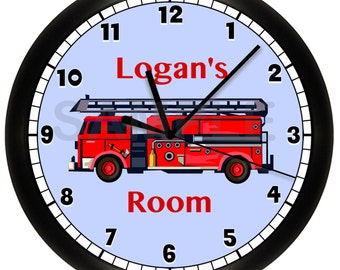 FIRE TRUCK Personalized Wall Clock