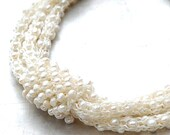 White Triple Strand Freshwater Pearl Necklace with Accent Sleeve