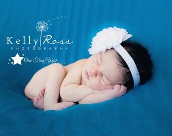 White baby elastic headband, chiffon flower, baby headband, infant headband, newborn headband, girl headband, photo prop, baby girl headband